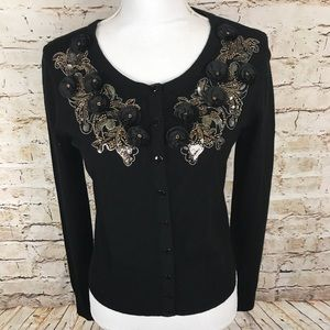 WHBM Cardigan Black Gold Sequins Size Small